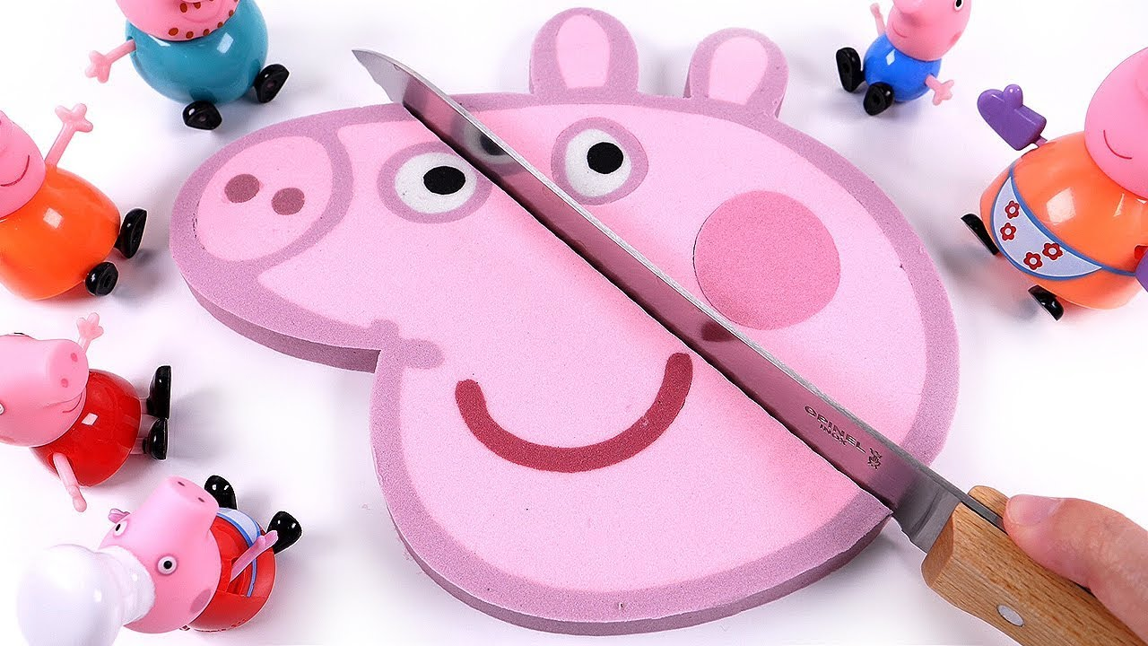 Diy How To Make Kinetic Sand Peppa Pig Face Cake Learn Colors For