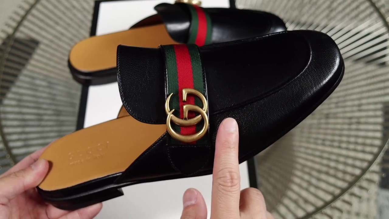 f9d7bd4a6e3 Gucci Quentin Double G Marmont Men s Princetown Slippers - YouTube