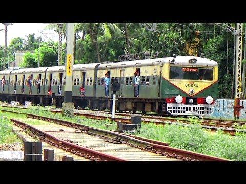 Sealdah Hasnabad EMU Local Train Departing Barasat Junction Railway Station - Indian Railway