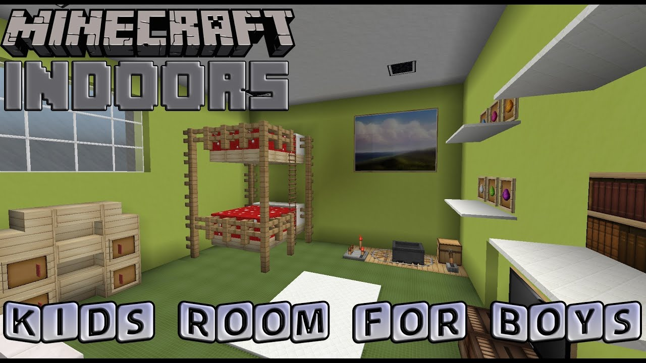 Kids Bedroom Minecraft kids bedroom for boys - minecraft indoors interior design - youtube