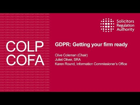 GDPR: getting your firm ready - Compliance Officers Conference 2017