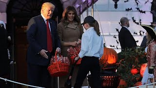 First Lady Meets Girl Dressed as 'Mini-Melania' at White House Halloween Party thumbnail