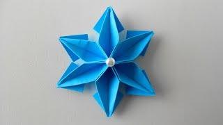Paper snowflake origami Снежинка из бумаги. Новогодняя игрушка для елки своими руками