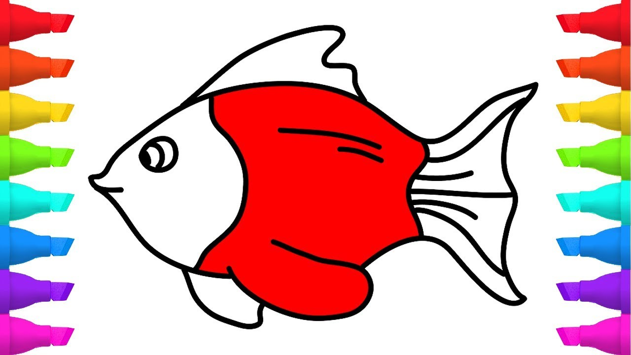 How to Draw Fish Coloring Pages - Art Colours for Kids - YouTube
