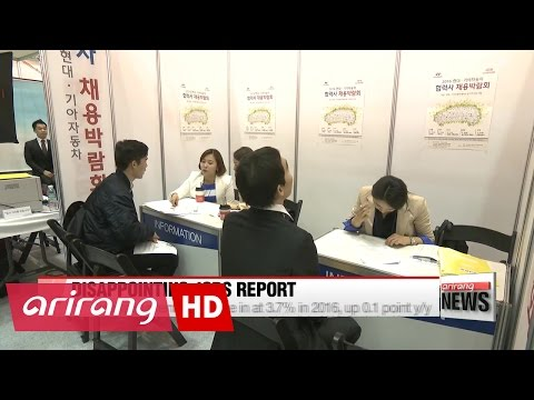 "Korea""s annual unemployment figure surpassed one-million in 2016"