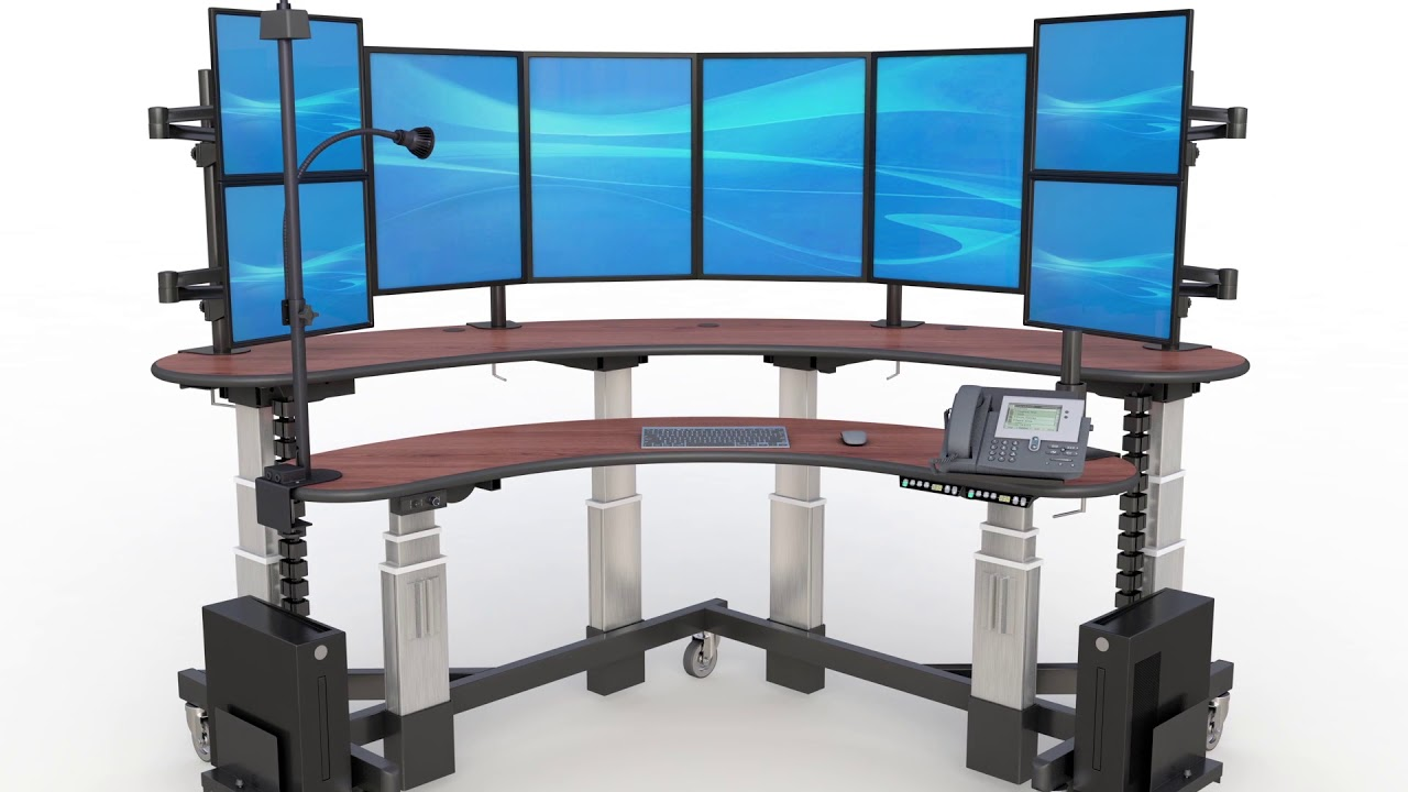 Two-Level Multi- Monitor Computer Desk - YouTube