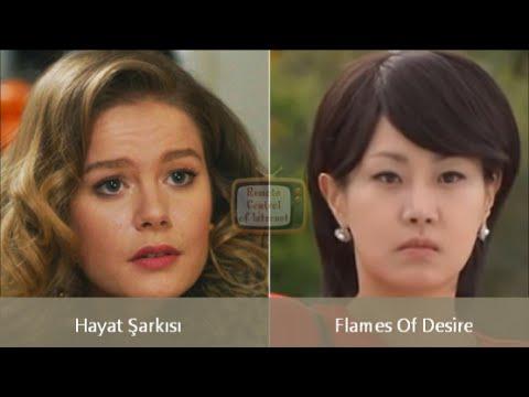 Hayat Şarkısı ile Kore versiyonu Flames Of Desire oyuncuları karşılaştırma