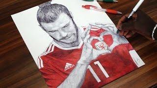 Gareth Bale Pen Drawing - Wales - DeMoose Art