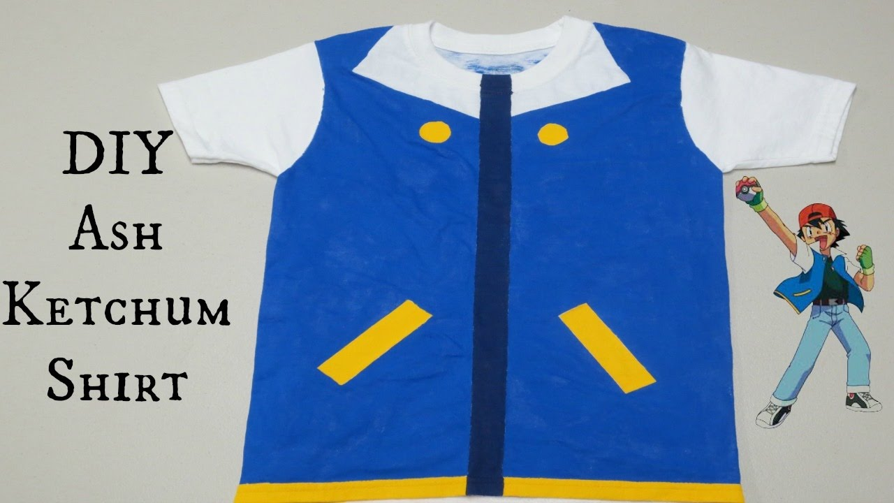 Diy ash ketchum shirt no sewing needed youtube solutioingenieria Images