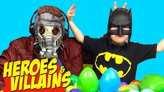 Batman vs Star-Lord | Heroes and Villains Surprise Eggs Challenge  with Batman Toys & Spiderman Toys