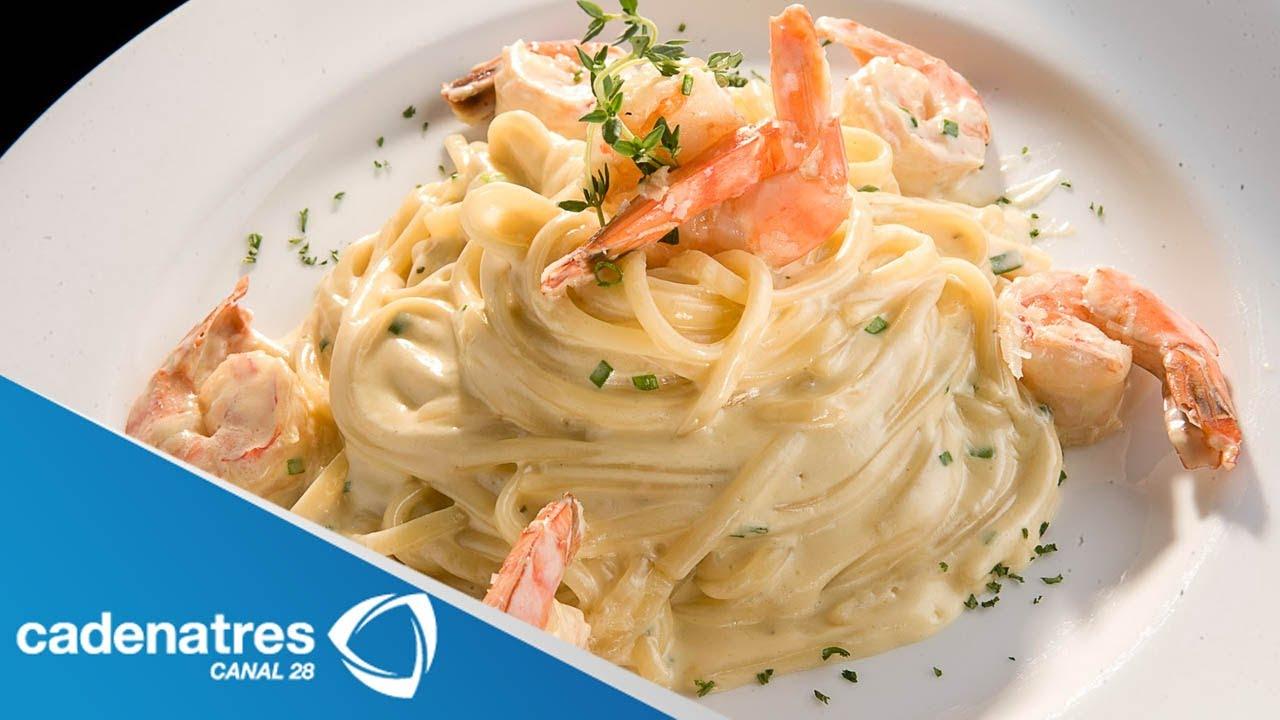 Receta para preparar pasta con camarones y salsa de tomate - Como hacer espaguetis al pesto ...