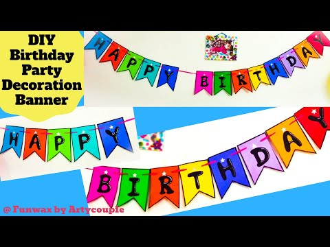 DIY Birthday party banner | Happy Birthday Decoration | Easy home decoration idea | Birthday banner