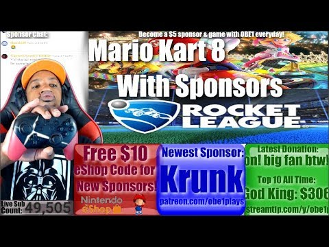 Nintendo Switch With Sponsors! Mario Kart 8 Deluxe & Rocket League!