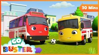 The Soccer Bus - Don't Be Nervous | Go Buster | Baby Cartoons | Kids Videos | ABCs and 123s