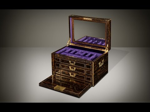 Daniellucian.com - Extra Large Antique Jewellery Box in Coromandel with Concealed Drawers