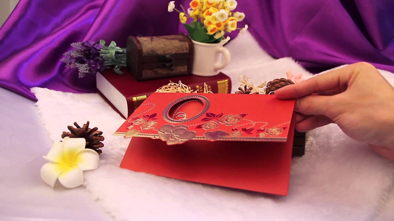 Traditional style red chinese wedding invitation card - YouTube