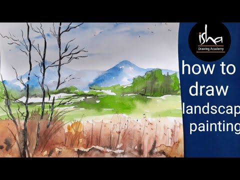 How to draw | watercolour painting | landscape | fine art 12th class |  step by step | isha drawing