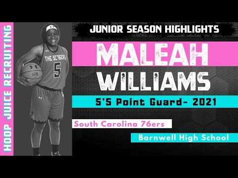 Maleah Williams - 5'5 Point Guard  (2021) - SC 76ers - Barnwell High School