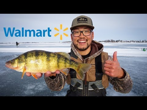 Walmart Lure Ice Fishing Challenge! (PERCH CATCH CLEAN COOK)