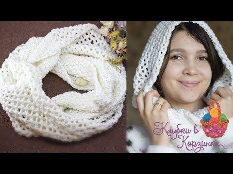 Как связать шарф спицами для начинающих на 2 спицах снуд для