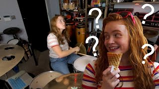 Sadie Sink/Max from Stranger Things Plays Drums to NeverEnding Story??