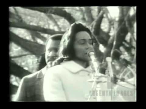 Coretta Scott King giving a speech