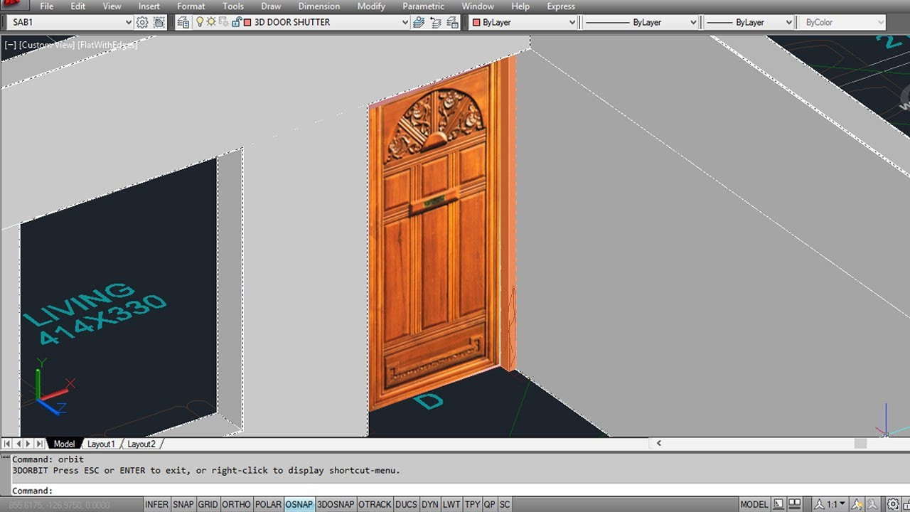 Autocad 3d House Part2 Making 3d Doors Youtube