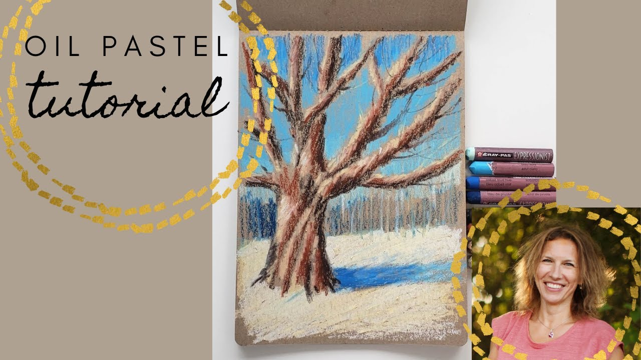 How to draw a tree trunk with light and shadow. Tutorial with oil pastel.
