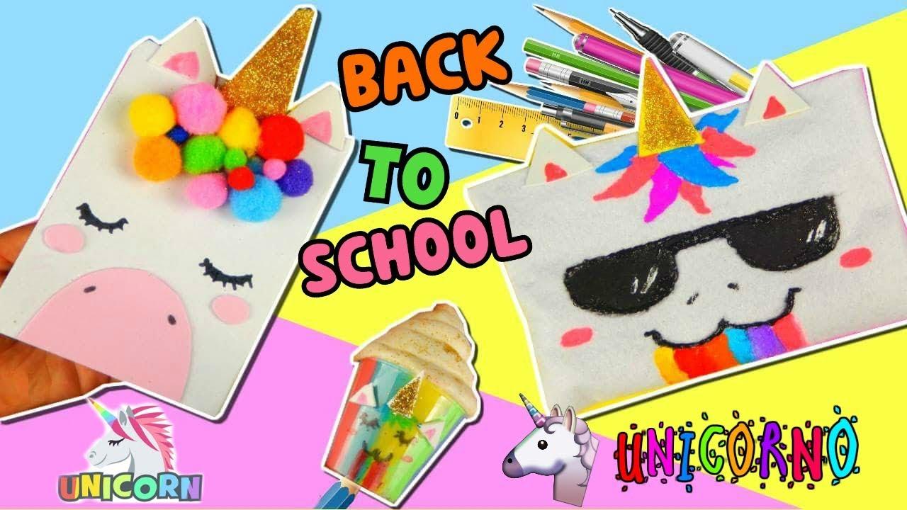 Back to school unicorno quaderno astuccio e temperino for Cose fai da te