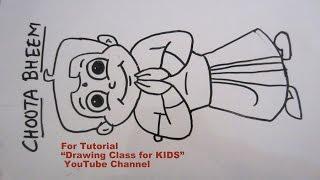 How to Draw- Chhota Bheem Saying Namaste Step by Step Tutorial for Kids