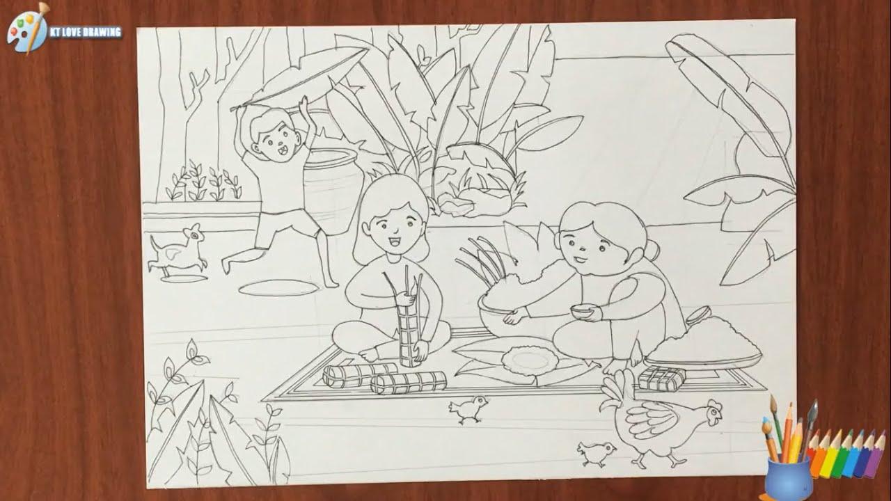 Vẽ tranh đề tài ngày tết và mùa xuân – Gói bánh chưng (P1: Vẽ hình )