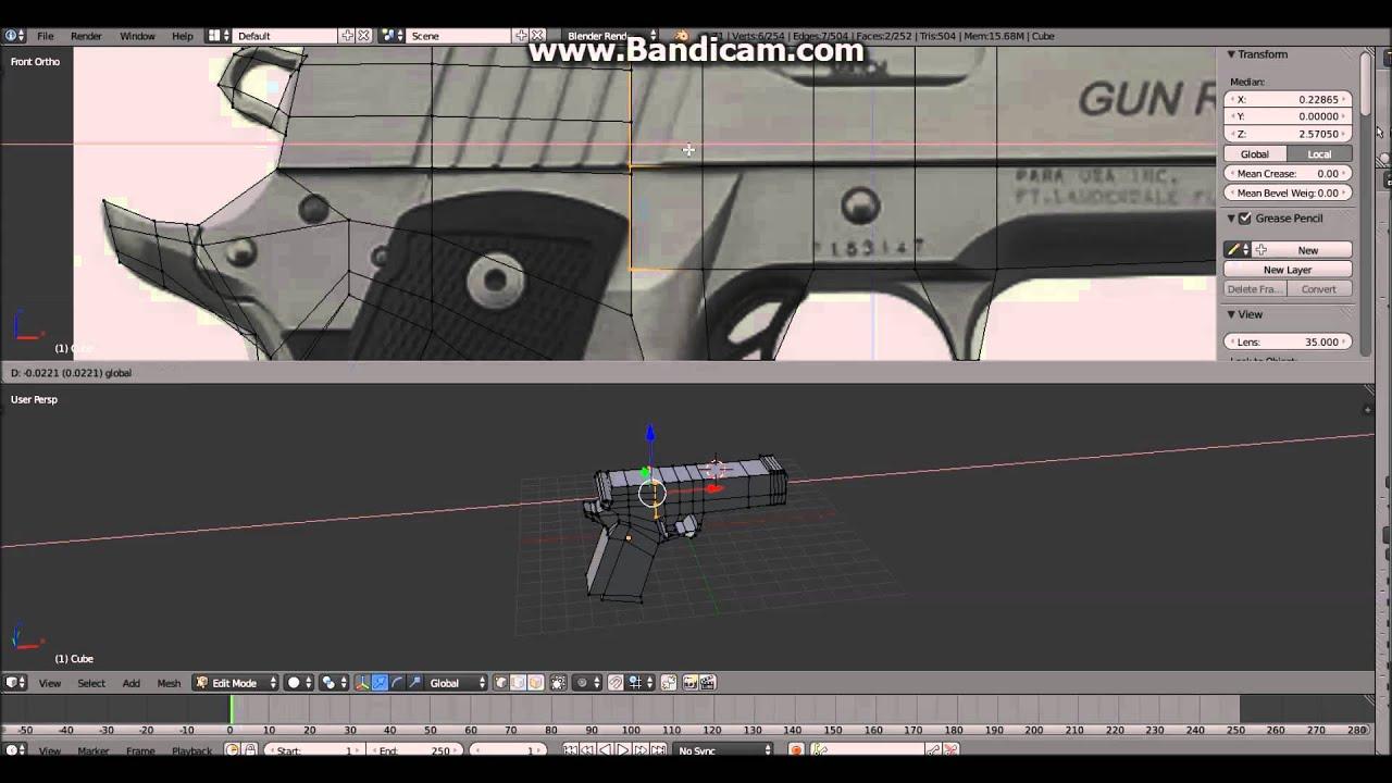 Modeling a gun in blender 2.71 2.72 - YouTube