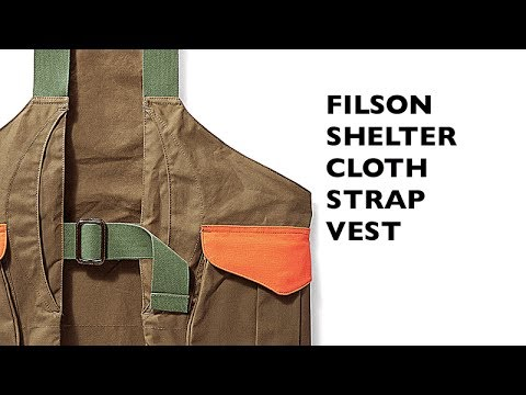 Filson, Shelter Cloth Strap Vest With Blaze Orange