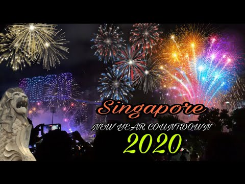 SINGAPORE YEAR END COUNTDOWN 2020   MARINA BAY SANDS DRONE + FIREWORKS DISPLAY
