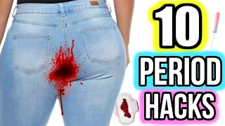 Repeat youtube video 10 Period Hacks Every Girl NEEDS To Know! DIYS + HACKS
