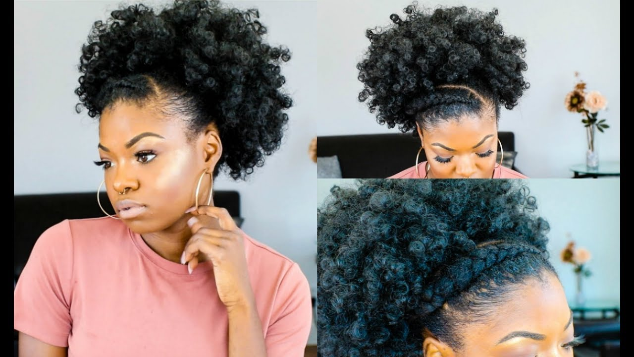 Hairstyles Out Of Style: FAUX PUFF W/ FEED IN BRAID - YouTube