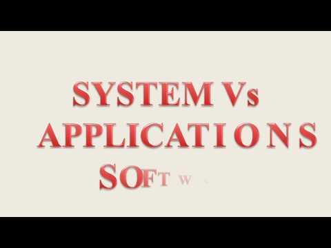 SYSTEM Vs APPLICATION SOFTWARE