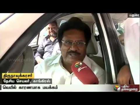 Congress Leader Thirunavukkarasar Faints At Election Campaign In Madurai