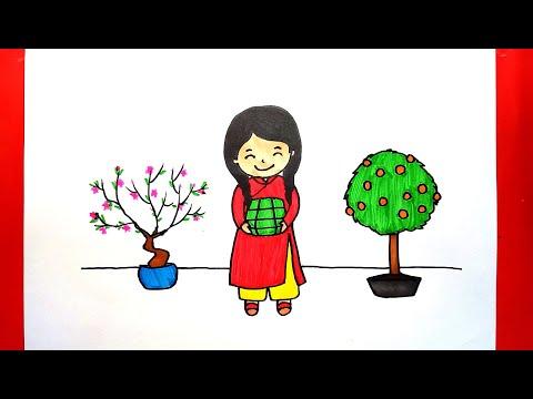 Vẽ tranh ngày Tết - Cách vẽ tranh ngày Tết đơn giản - Vẽ bé làm bánh chưng