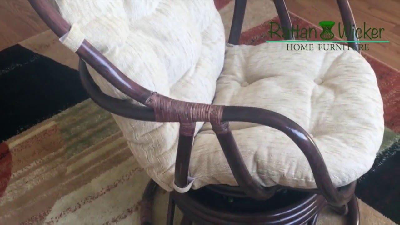 rattan wicker rocking chair cushion wedding covers hire birmingham swivel erick dark brown color with