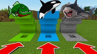 MINECRAFT PE: DO NOT CHOOSE THE WRONG HOLE with FuzionDroid (Pirahna, Orca, & Megalodon)