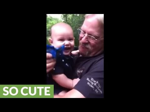 Baby laughs at grandfather's giggles in the most heart-melting way!
