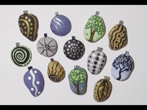 EASY Painted Polymer Clay Rock Pendants