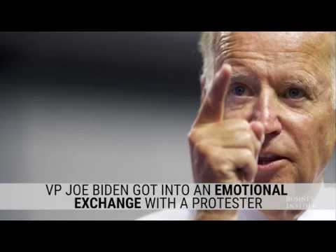 Joe Biden got into an emotional exchange with a protester