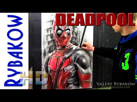 How to draw DEADPOOL PORTRAIT in Pastel Time Lapse DEMO by Valery Rybakow