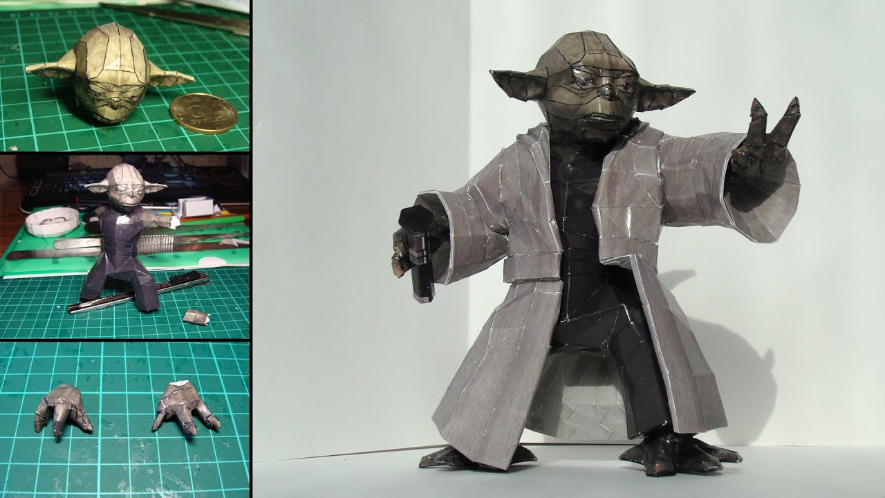 Papercraft Master Yoda Papercraft (Stop-motion assembly video)