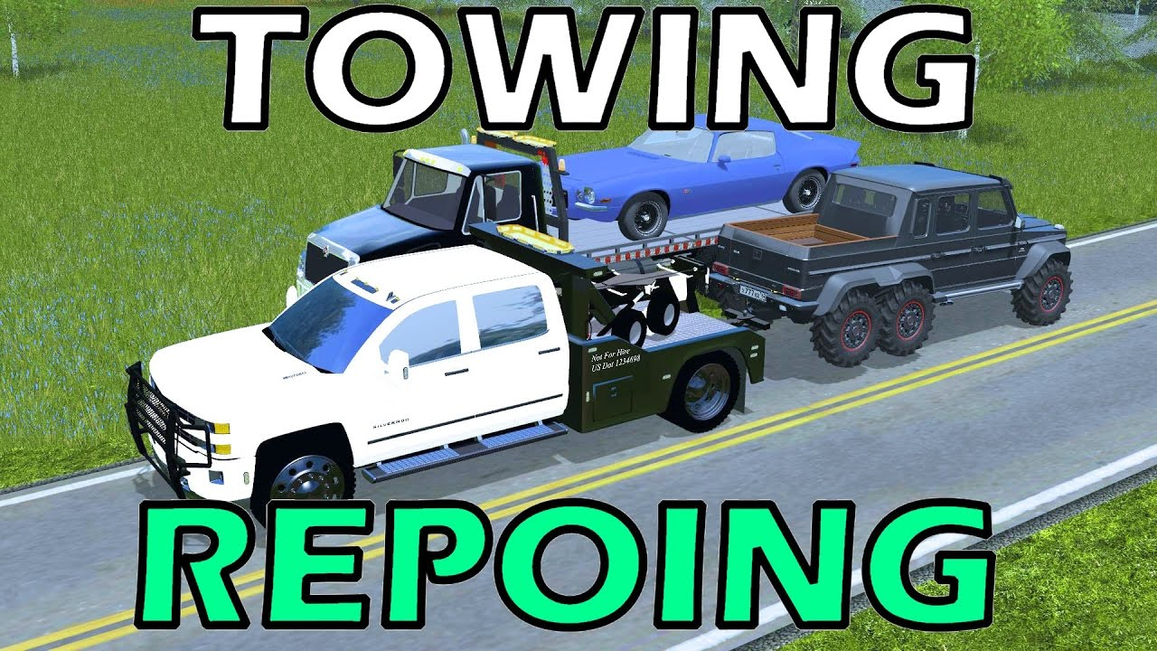 Farming Simulator 17 Towing Amp Repoing Cars New Towtruck Youtube