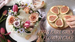 무화과 얼그레이 케이크 위에 생화 장식하기, fig e…