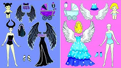 Paper Dolls Dress Up - Fairy & Witch Papercraft Dresses Handmade Quiet Book - Barbie Story & Crafts