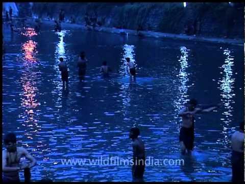 Pilgrims bathing in pampa river of Sabarimala